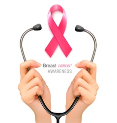 Stethoscope with a breast cancer awareness ribbon vector image vector image