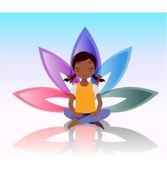 Yoga kid Asana pose on lotus background vector image