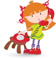Girl on phone resize vector image