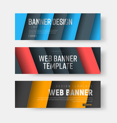 set of banners with diagonal colored lines with vector image vector image