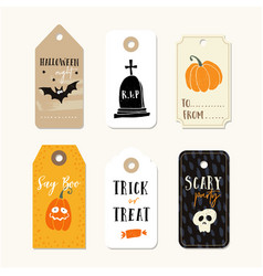 set of cute halloween gift tags labels with vector image vector image
