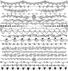 Set of hand drawn lines border and elegant design vector image vector image