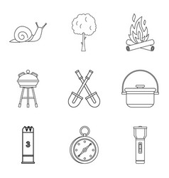 backyard icons set outline style vector image vector image