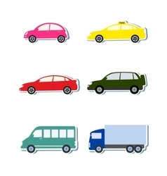 colorful sticker set with car icon vector image vector image