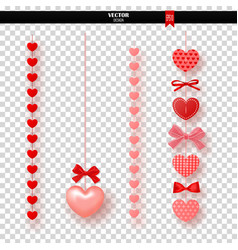 garland of red hearts and bows on transparent vector image vector image