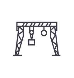 harbour crane line icon sign vector image vector image