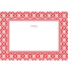 holiday damask pattern and frame vector image