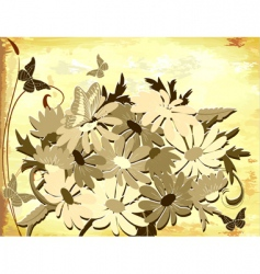 old paper with daisies vector image vector image
