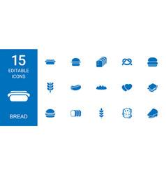 15 bread icons vector image