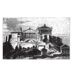 Acropolis or ancient architecture vintage vector