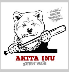 Akita inu dog with a baseball bat thug - ghetto vector