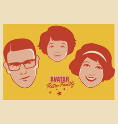 Avatar retro family cartoon faces woman man and vector