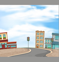 background scene with buildings and empty road of vector image
