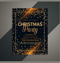 beautiful golden sparkles christmas flyer template vector image