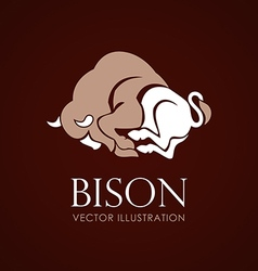Bison sign brown background vector