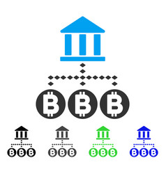 Bitcoin bank structure flat icon vector