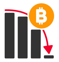 bitcoin panic fall chart flat icon vector image