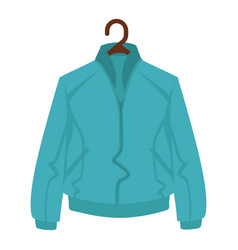 Blue jacket for man or woman on black hanger on vector