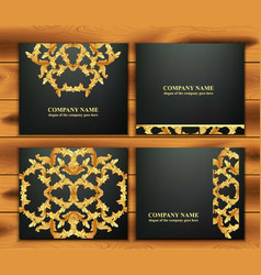 Business card set with luxurious ornament vector
