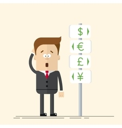 Businessman or manager has the choice of currency vector image