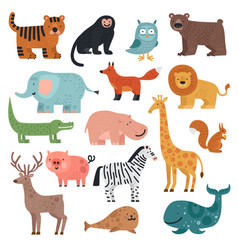 cartoon animals tiger monkey and bear elephant vector image