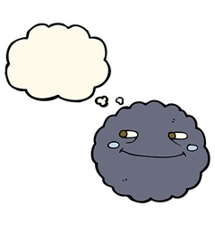 Cartoon happy rain cloud with thought bubble vector