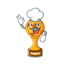 Chef soccer trophy with mascot shape vector
