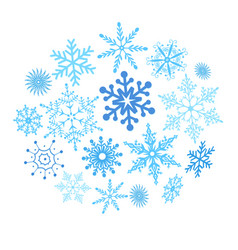 christmas blue snowflakes isolated vector image