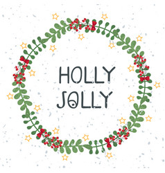 christmas wreath template and lettering holly vector image