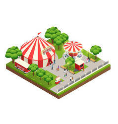 Circus tent in park isometric composition vector