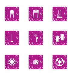 clean the house icons set grunge style vector image