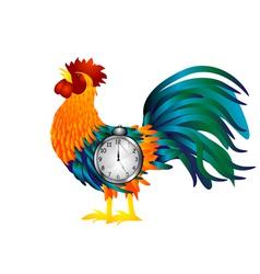 Cock with alarm clock vector image