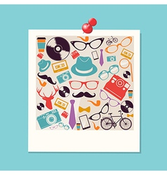 Colorful retro hipsters icons photo vector