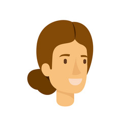 Colorful silhouette of woman face with light brown vector