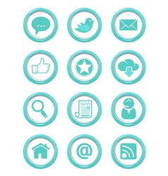 Communication buttons blue set vector image