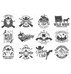 Cowboy club badge ranch rodeo concept vector