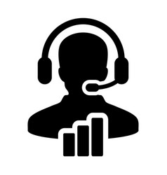Data service icon male customer data support vector