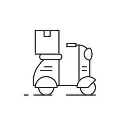 delivery scooter outline icon on white background vector image