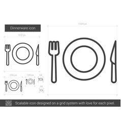 Dinnerware line icon vector
