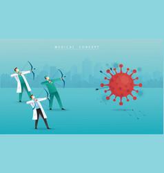 Doctor with bow aiming coronavirus covid-19 vector