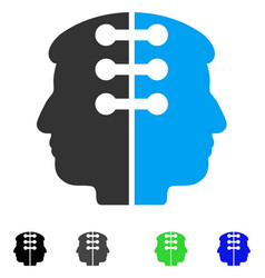 Dual head interface flat icon vector