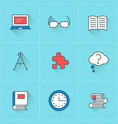 education icons icon set in flat design style vector image