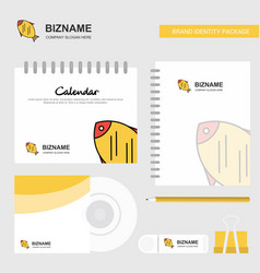 fish logo calendar template cd cover diary and vector image