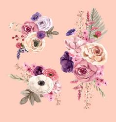 Floral wine bouquet design with mouquet rose vector