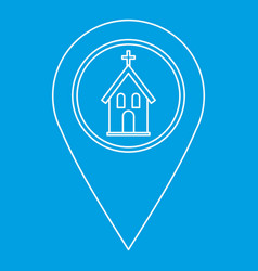 Geo tag with church symbol icon outline style vector