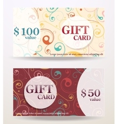 Gift card design with value vector