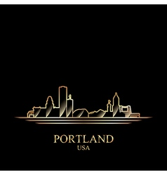Gold silhouette of portland on black background vector