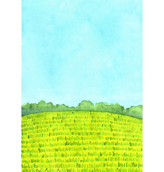 Green meadow and tree with cloud sky watercolor vector