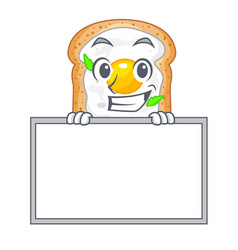 Grinning with board cartoon eggs sandwich in for vector