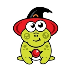 Halloween frog in witch hat Cartoon vector image